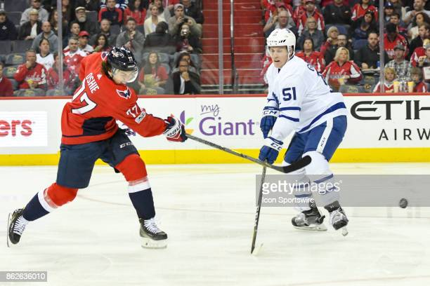 Washington Capitals right wing TJ Oshie fires a second period shot against Toronto Maple Leafs defenseman Jake Gardiner on October 17 at the Verizon...