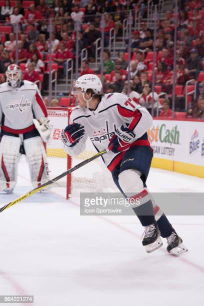 Washington Capitals Right Wing TJ Oshie moves the play up ice during the NHL hockey game between Washington Capitals at Detroit Red Wings on October...