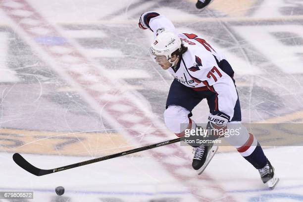 Washington Capitals right wing TJ Oshie skates with the puck during the first period The Pittsburgh Penguins won 32 in Game Four of the Eastern...