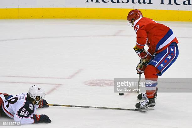 Washington Capitals right wing Tom Wilson is tripped in the third period by Columbus Blue Jackets defenseman David Savard on January 5 at the Verizon...