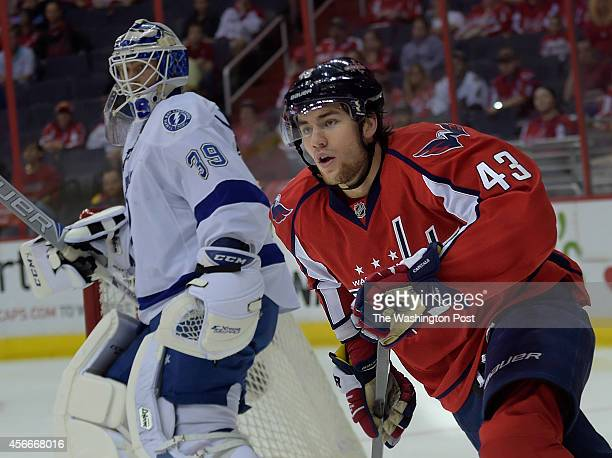 Washington Capitals right wing Tom Wilson skates around the corner during the first period of the game the between the Washington Capitals and the...