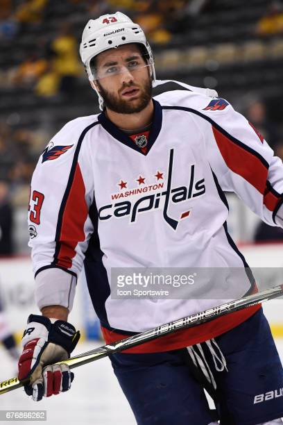 Washington Capitals right wing Tom Wilson warms up before Game Three of the Eastern Conference Second Round during the 2017 NHL Stanley Cup Playoffs...