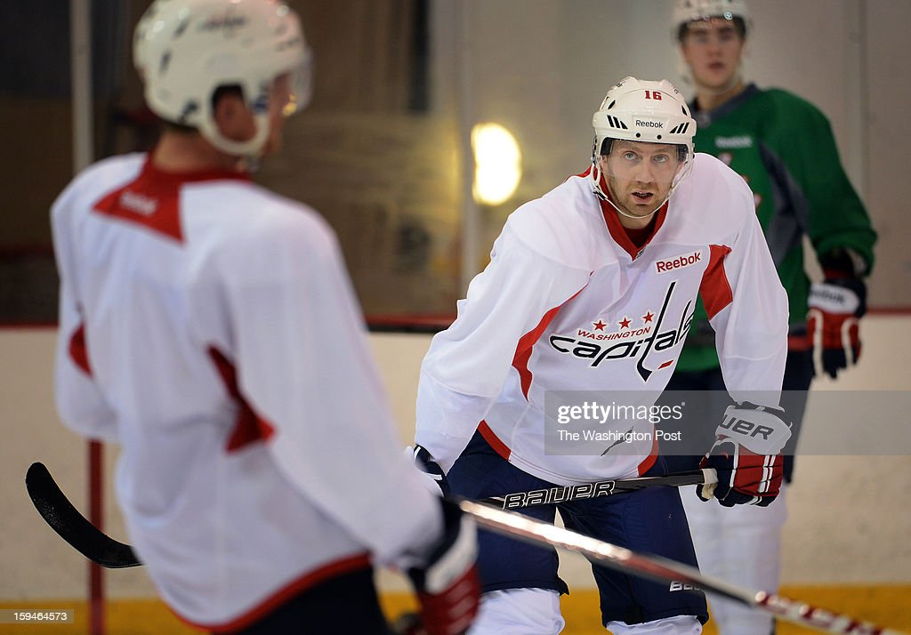 Washington Capitals right winger Eric Fehr during the Washington Capitals' first official practice of the season on Sunday, January 13, 2013.