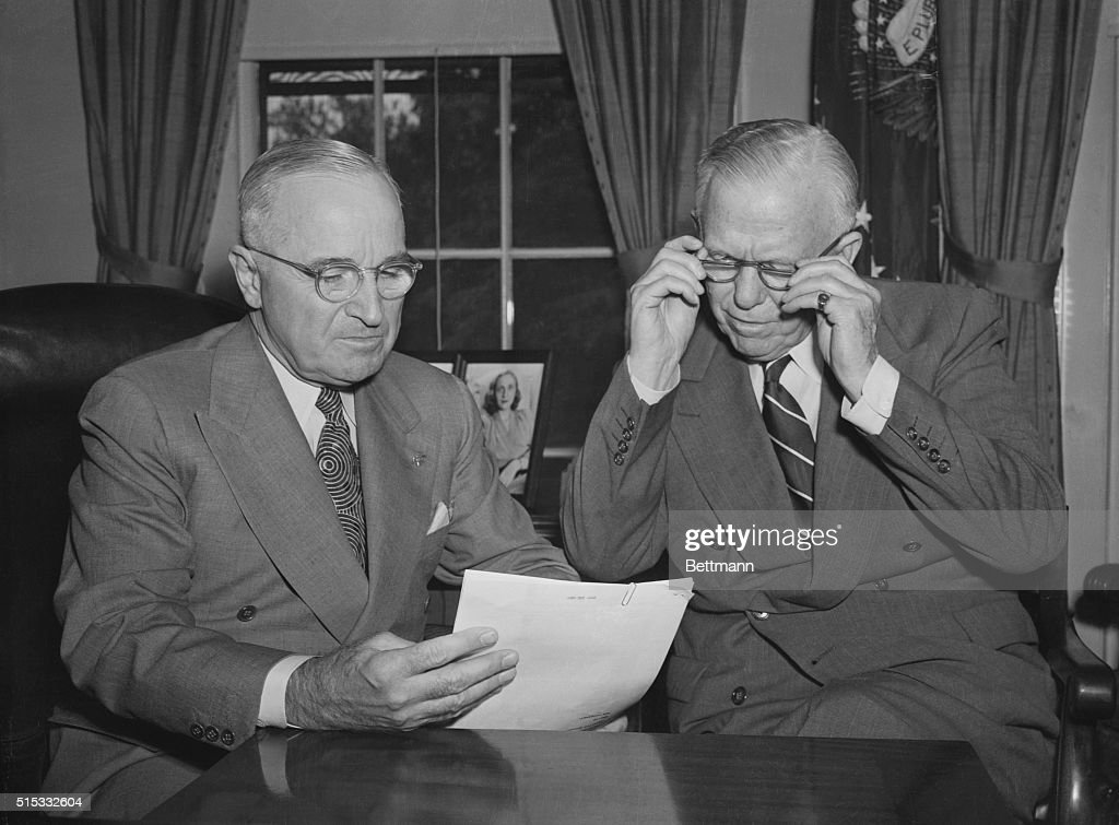 Marshall Reports To Truman Defense Secretary George C Marshall reports to President Truman immediately following his return from Tokyo and Korea