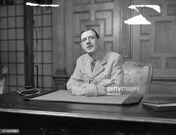Washington D CGeneral De Gaulle At Press Confab This is candid view of General Charles DeGaulle President of the French Provisional Government while...