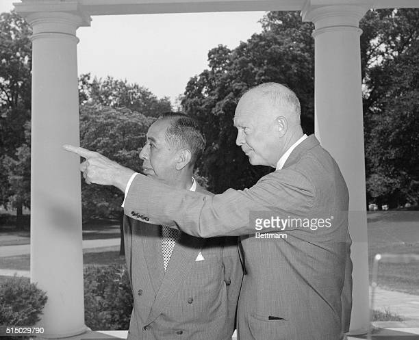 Washington D CGuided Tour For Visiting Premier President Eisenhower is pointing out a view from the White House to Japanese Premier Nobusuke Kishi as...
