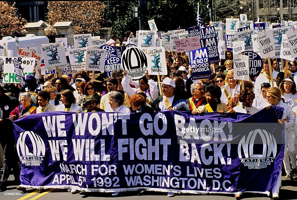 Washington, DC. 4-10-1989 The Pro-Choice Protest. In one of the biggest political rallies in U.S. history, more than 300,000 demonstrators marched on the Capitol on Sunday to tell the government and the Supreme Court that women have a right to an abortion. They were joined by politicians and Hollywood celebrities for almost seven hours of rallying, sponsored by the National Organization for Women. The march was timed to precede a Supreme Court hearing that pro-choice and anti-abortion forces agr