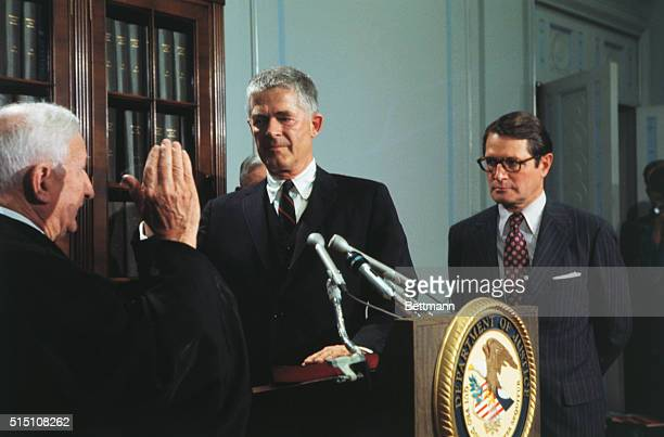 Washington DC Archibald Cox is sworn in as Special Watergate Prosecutor by Judge Charles Fahy of the District of Columbia Circuit Court during a...