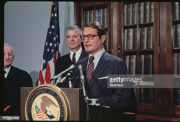 Washington DC Attorney General Elliot Richardson talks at Justice Department on the occasion of the swearing in of Archibald Cox as the Special...