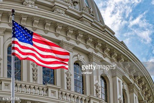 Washington DC Capitol view on cloudy sky : Stock Photo