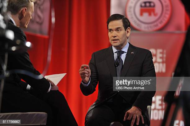 Washington DC CBS News Political Director and FACE THE NATION anchor John Dickerson sits down for an interview with Marco Rubio after the CBS News...