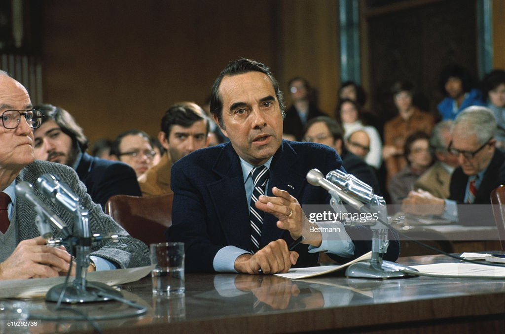 Closeups of Senator Robert Dole (R-Kansas) as he appears before committee.