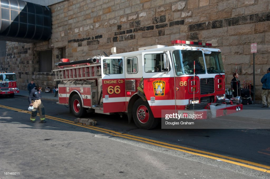 Washington, D.C. fire, police and medical emergency responders answered a call at the Metro in Union Station when a customer made contact with the side of a train from the platform, sustaining a leg injury on December 3, 2012.