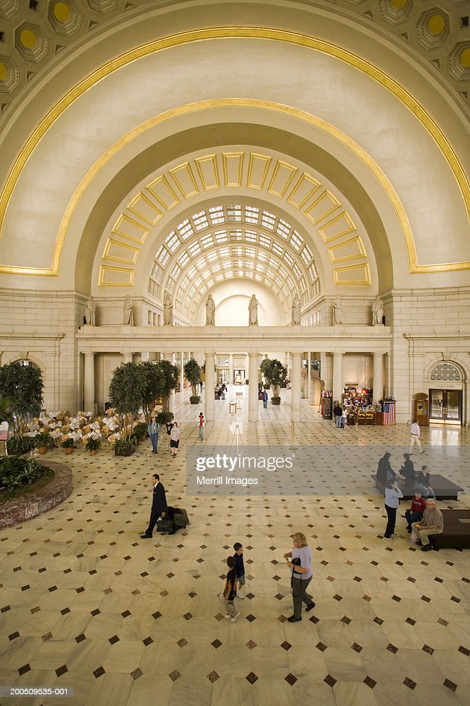 USA, Washington, DC, interior of Union Station, elevated view