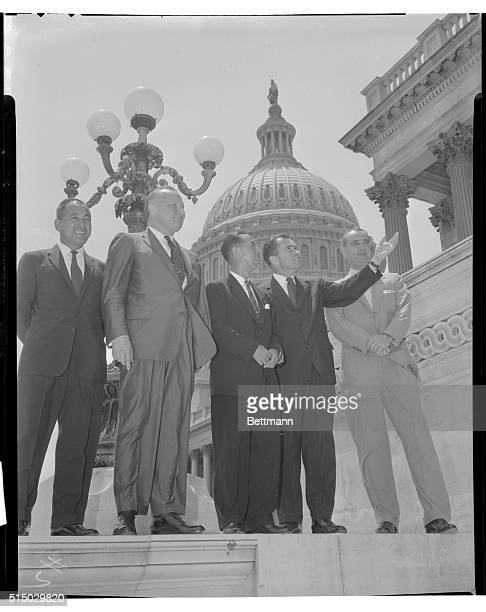 Japanese Prime Minister Nobusuke Kishi on Capitol Hill Left to RightSenator William Knowland the Prime Minister Vice president Richard Nixon and...