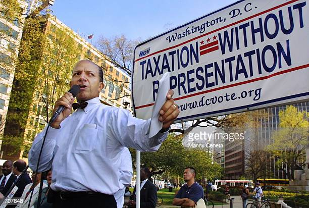 Washington DC Mayor Anthony Williams addresses the 'Taxes Paid Representation Denied' rally April 15 2002 in Washington DC The protest coincided with...