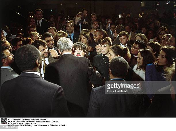 Washington DC Monica Lewinsky Embraces President Bill Clinton At A Democratic Fundraiser