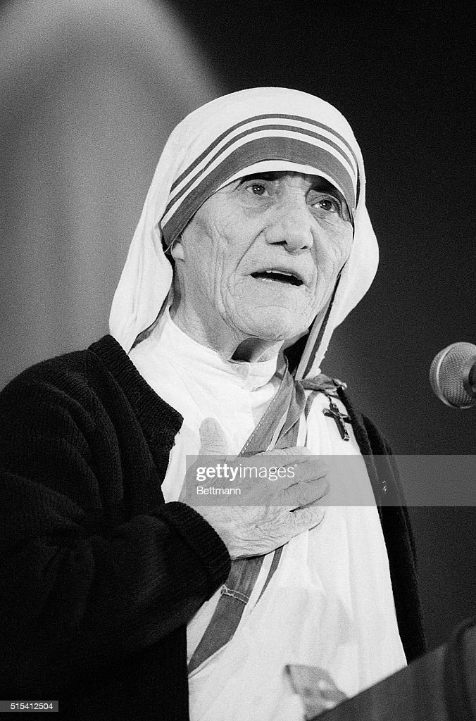 6/21/1985 - Washington, DC - Mother Teresa attending the National Right to Life convention in Washington DC.