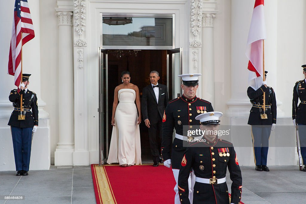 Washington DC On Tuesday August 2 First Lady Michelle Obama and President Barack Obama step out onto the North Portico of the White House in...