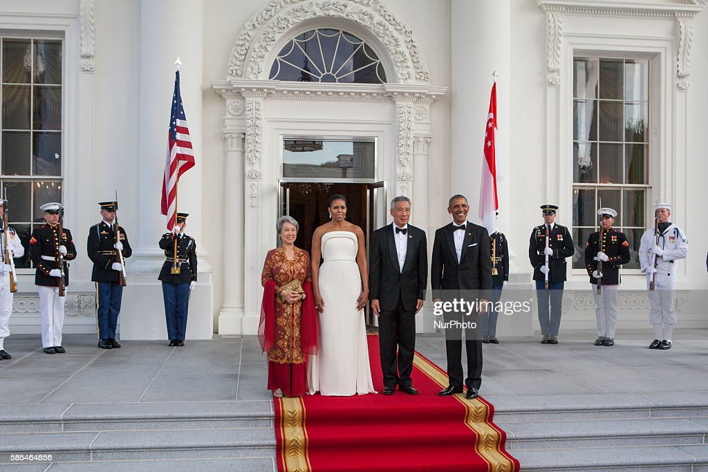 Washington DC On Tuesday August 2 lr Mrs Lee Hsien Loong First Lady Michelle Obama Prime Minister Lee Hsien Loong and President Barack Obama pose for...