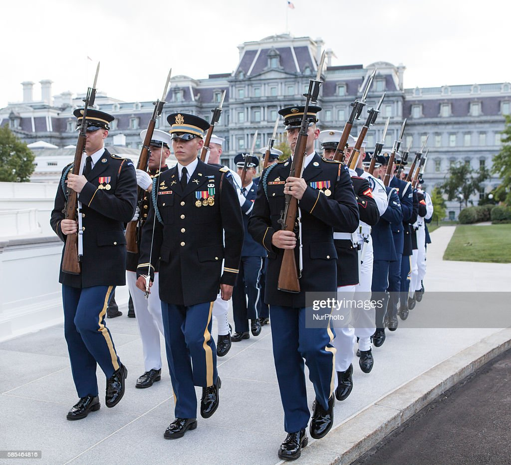 Washington DC On Tuesday August 2 the Honor Guard march towards the North Portico in preparation for the dinner arrival of Singapore Prime Minister...