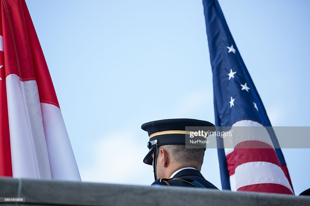 Washington DC On Tuesday August 2 the Honor Guard prepare for the dinner arrival of Singapore Prime Minister Lee Hsien Loong and his wife Mrs Lee...