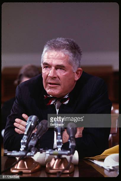 Ousted Special Watergate Prosecutor Archibald Cox appears before the House Judiciary subcommittee 11/5 on the nomination of Leon Jaworski to be his...