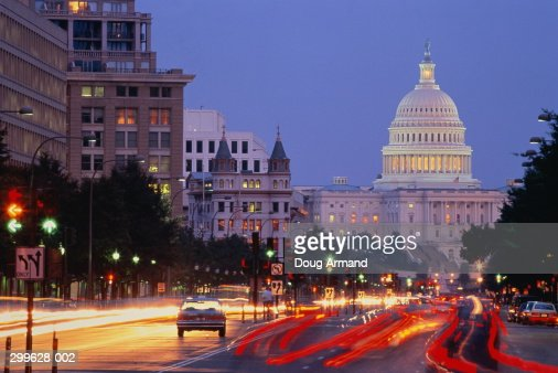 USA, Washington DC, Pennsylvania Avenue and Capitol building : Stock Photo