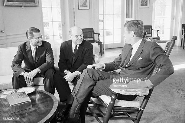 President Kennedy's first appointment at the White House today after his return from California was with Secretary of Defense Robert McNamara and...