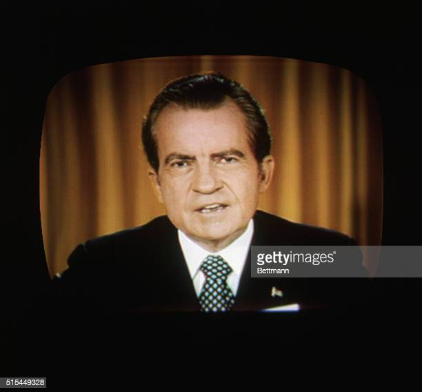 4/30/73 Washington DC President Richard Nixon addresses the nation on TV about the Watergate Photo of television screen of Nixon's Broadcast