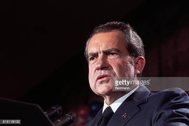 Washington DC President Richard Nixon makes victory speech at a rally shortly after being elected to serve a second term by a landslide in the...