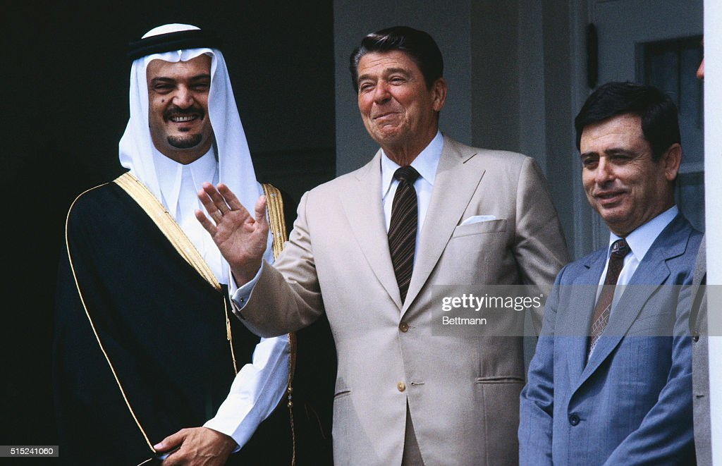 President <a gi-track='captionPersonalityLinkClicked' href=/galleries/search?phrase=Ronald+Reagan+-+US+President&family=editorial&specificpeople=69998 ng-click='$event.stopPropagation()'>Ronald Reagan</a> with Prince Saud Al-Faisal of Saudi Arabia and Abd Al-Halim Khaddam of Syria at the White House.