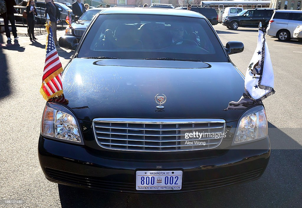 A Washington, DC 'TAXATION WITHOUT REPRESENTATION' license plate is seen on the limousine of U.S. Vice President Joseph Biden as he participates during a Unite America in Service event on the National Day of Service as part of the 57th Presidential Inauguration January 19, 2013 at the DC Armory in Washington, DC. Vice President Biden and his family joined volunteers to pack care kits filled with necessities for deployed U.S. Service Members, Wounded Warriors, Veterans and First Responders.