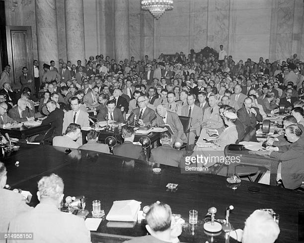 The Senate Caucus Room as the ArmyMcCarthy hearings were resumed after a week's research May 24 On the witness stand James St Clair assistant army...