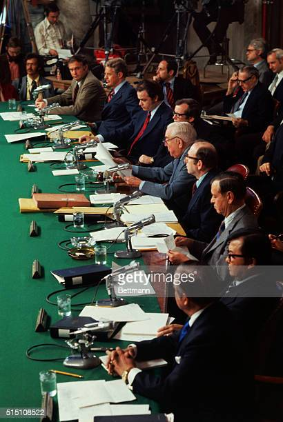 Washington DC The Senate Watergate Committee begins its investigation of the Watergate scandal in the Senate Caucus Room Front to Rear Senator...