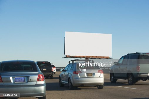 USA, Washington DC, traffic and blank billboard