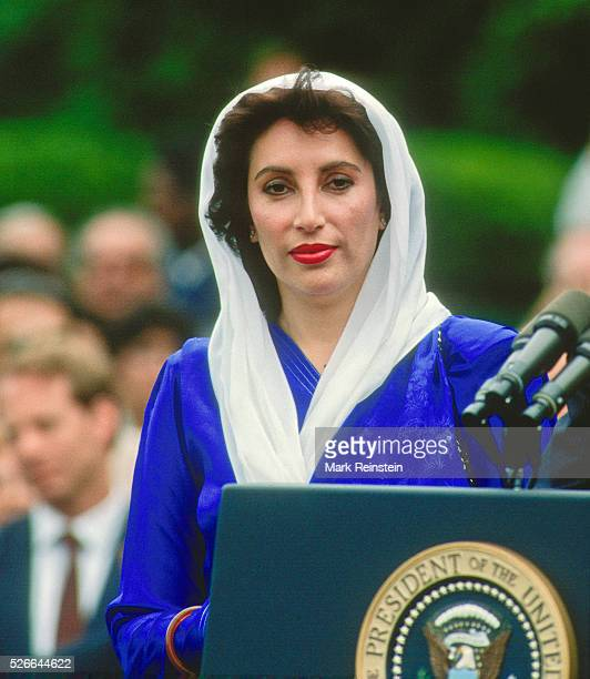 Washington DC USA 11th April 1995 Prime Minister Benazir Bhutto of Parkistan during news conference with President William Clinton in the Rose Garden...