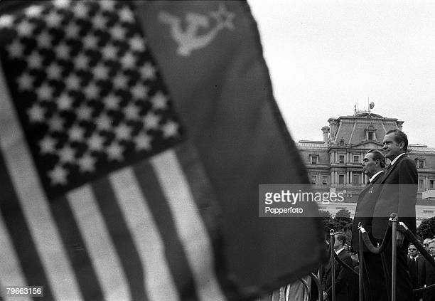 Washington DC USA 18th June 1973 Russian Premier Leonid Brezhnev and American President Richard Nixon are pictured prior to their White House talks