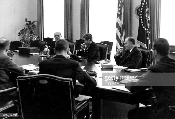Washington DC USA September President of the United States of America John F Kennedy deep in thought at the White House during emergency talks with...