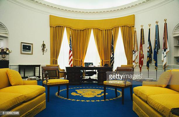 View of President Richard Nixon's office in the White House The rug designed by Mrs Nixon features the Presidential seal in gold in the center and...