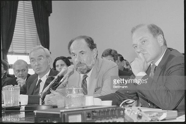 Edward Joyce left president of CBS News Lawrence Grossman center president of NBC News and George Watson vice president of ABC News testify at a...