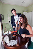 USA, Washington, Everett, Young couple getting ready for party