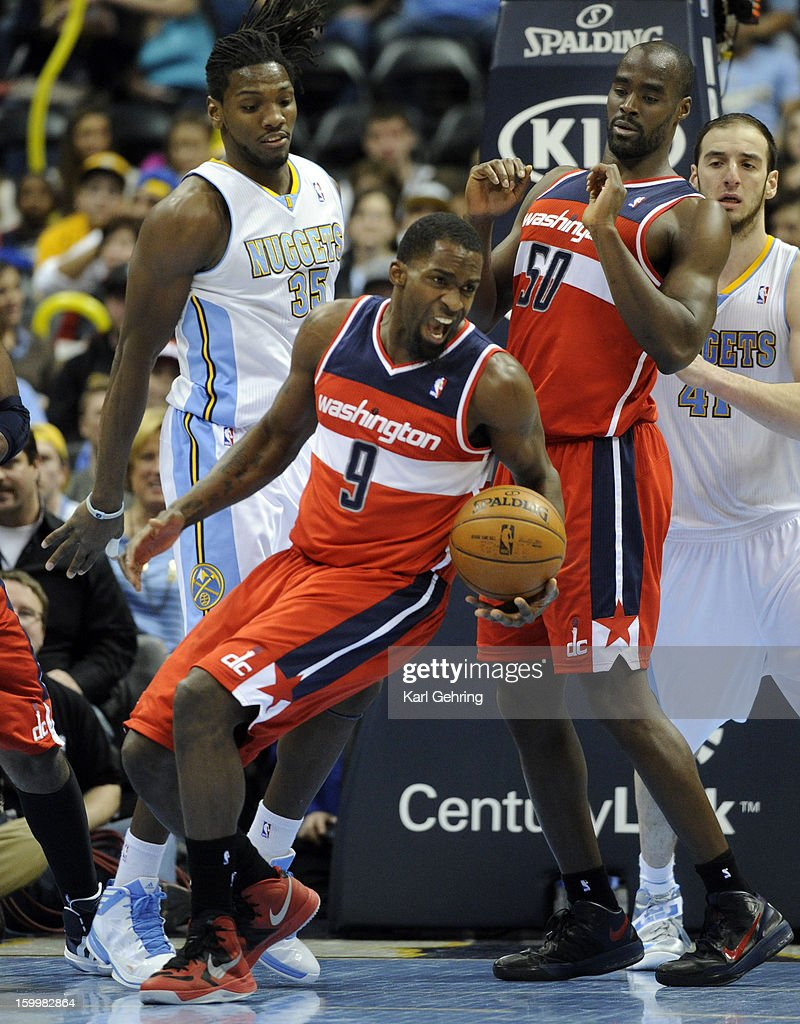 Washington forward Martell Webster (9) secured a rebound in the second half. The Washington Wizards defeated the Denver Nuggets 112-108 at the Pepsi Center Friday night, January 18, 2013. Karl Gehring/The Denver Post via Getty Images