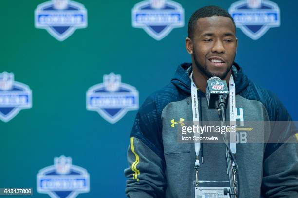 Washington free safety Budda Baker answers questions from the media during the NFL Scouting Combine on March 5 2017 at Lucas Oil Stadium in...