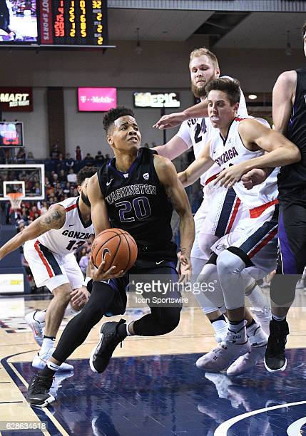 Washington freshman guard Markelle Fultz drives to the basket to score during the game between the University of Washington Huskies and the Gonzaga...