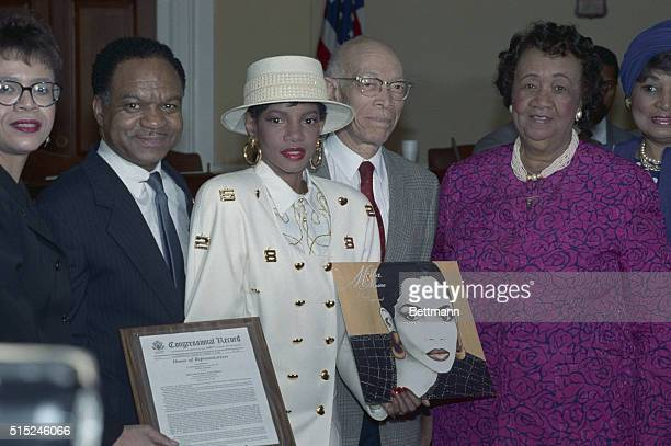 From left to right Del Walter Fauntroy singer Melba Moore Dr Roland Scott of the National Association for Sickle Cell Disease and Dr Dorothy Height...