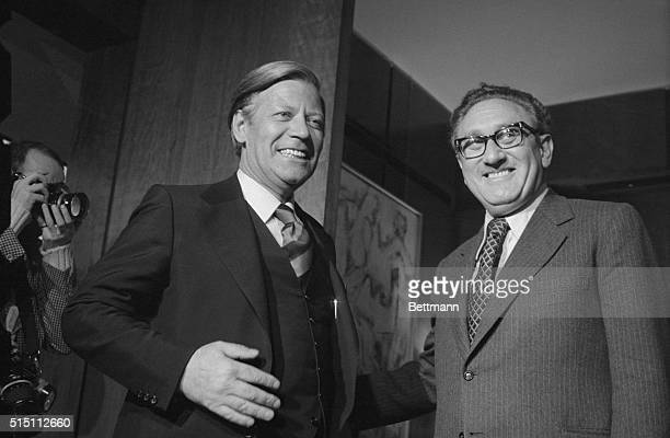 German Finance Minister Helmut Schmidt left who is on a private visit to the United States makes a courtesy call on Secretary of State Henry...