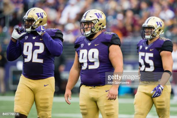 Washington Greg Gaines and his teammates get set for a play during a college football game between the Washington Huskies and the Montana Grizzlies...