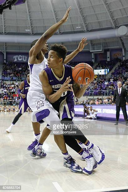 Washington Huskies guard Markelle Fultz looks to make a move on the baseline during the NCAA Basketball game between the Washington Huskies and TCU...