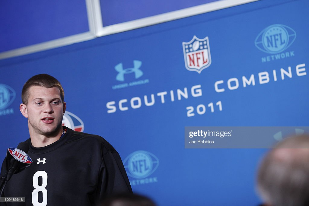 Washington Huskies quarterback Jake Locker answers questions during a media session at the 2011 NFL Scouting Combine at Lucas Oil Stadium on February 25, 2011 in Indianapolis, Indiana.